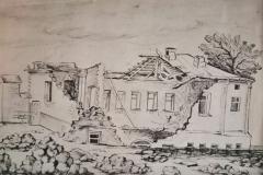 O.-Nikitina.-Razrushennoe-zdanie-literaturnogo-otdela-muzeya-Turgeneva.-Orel.-1943-g.nachalo