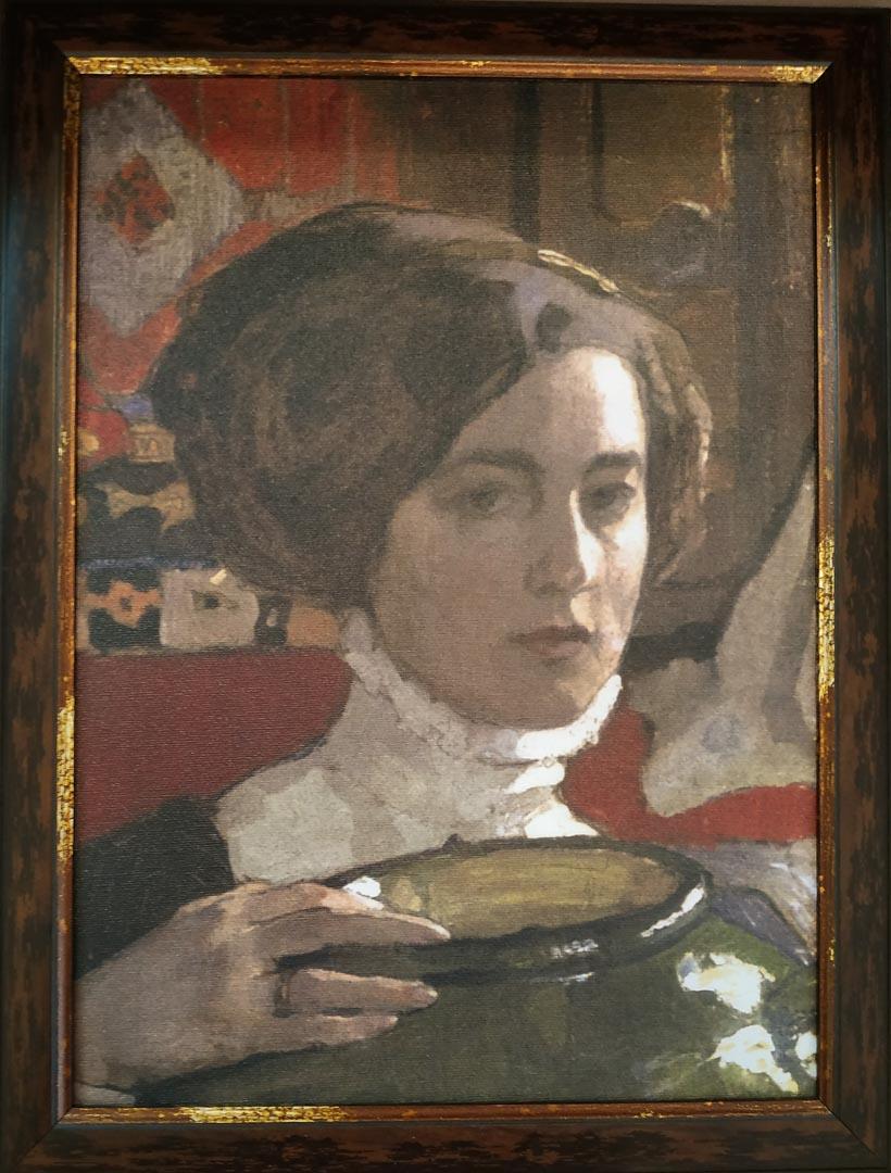 История одного экспоната.  Е. А. Киселёва.  «Автопортрет с зеленой вазой». 1910 г.